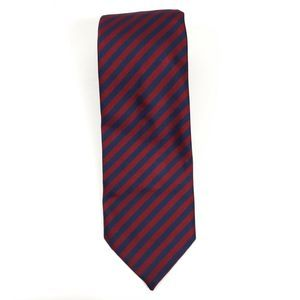 Burberrys Red & Blue Striped All Silk Neck Tie